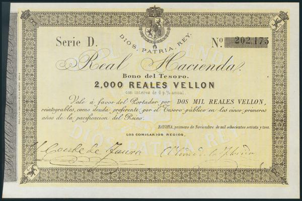 5 - 2000 Reales. 1 de Noviembre de 1873. Serie D. (Edifil 2017: 213). SC. - 1,500€