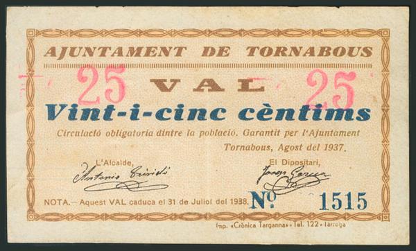 1002 - TORNABOUS (LERIDA). 25 Céntimos. Agosto 1937. (González: 10323). Muy raro. EBC. - 60€