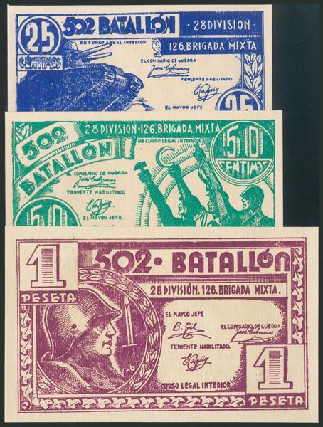 1043 - BILLETE MILITAR-502 BATALLON. Serie completa de la Brigada Mixta. 25 Céntimos, 50 Céntimos y 1 Peseta. (1937ca). Serie A. (González: 5876/78). Rara. SC. - 75€