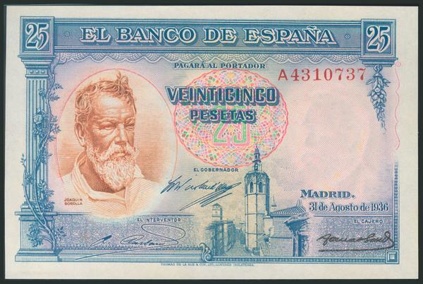 123 - 25 Pesetas. 31 de Agosto de 1936. Serie A. (Edifil 2017: 367a). Apresto original. SC. - 225€
