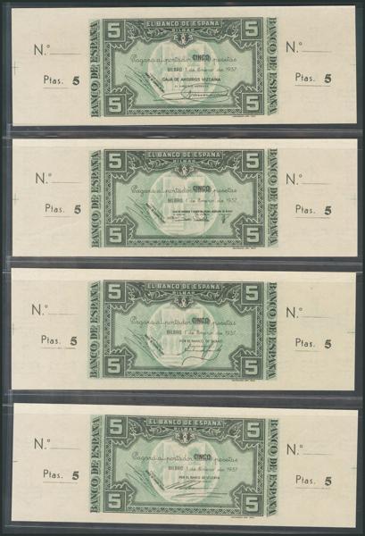146 - Conjunto de 35 billetes del Banco de España, emitidos por la sucursal de Bilbao el 1 de Enero de 1937, se incluyen todos los valores emitidos, 5 Pesetas (sin serie y serie A), 10 Pesetas, 25 Pesetas, 50 Pesetas, 100 Pesetas y los no emitidos de 500 Pesetas y 1000 Pesetas, todos ellos con sus correspondientes matrices (a derecha e izquierda) y sin numeración, están presentes todas las antefirmas conocidas para cada uno de los billetes a excepción de la antefirma del Banco Central del billete de 10 Pesetas, se trata de una errata del catalogo Edifil (en toda la bibliografía a nuestro alcance en ninguna se hace referencia a la existencia de este billete) (por otra parte hay que destacar que el billete de 10 Pesetas con la antefirma Banco de Comercio no se conoce con matriz, tal y como indica el cátalogo Edifil), todos los billetes se presentan en una calidad máxima, sin circular, sin manchitas (muy típicas en esta emisión) y sin dobleces (excepto el 1000 Pesetas con la antefirma Banco de Vizcaya, que presenta una ligera doblez sin romper fibra en la esquina superior izquierda y en la parte de la matriz), para mayor garantía los billetes no emitidos de 500 Pesetas están encapsulados por PMG, todos con 63EPQ ó 65EPQ, excepto el de la antefirma de Caja de Ahorros y Monte de Piedad Municipal de Bilbao que está calificado como 58EPQ (cinco de los seis billetes encapsulados que se ofrecen en este conjunto están incluídos dentro de las siete mejores calificaciones dadas por PMG para este billete a día 1 de Septiembre de 2020). Espectacular y extraordinariamente raro conjunto completo, y de enorme calidad. SC+. <BR><BR>PD: En la descripción del lote, erróneamente, afirmamos que no se conocen las antefirmas del Banco Central y del Banco de Comercio en el billete de 10 Pesetas con matriz (el conjunto se ofrece billetes con matriz), pues bien, se trata de un error de nuestro departamento técnico que además atribuye injustamente a Edifil un error de catalogación, queremos ac