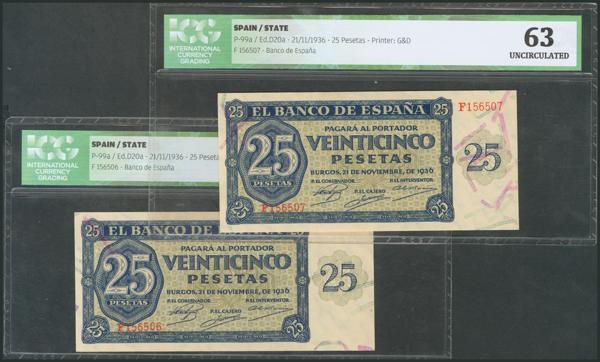 167 - 25 Pesetas. 21 de Noviembre de 1936. Pareja correlativa. Serie F. (Edifil 2017: 419a). Encapsulado ICG63. SC. - 175€