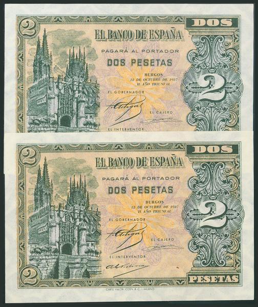 193 - 2 Pesetas. 12 de Octubre de 1937. Pareja correlativa. Serie A. (Edifil 2017: 426). Conserva todo el apresto original. EBC+. - 475€