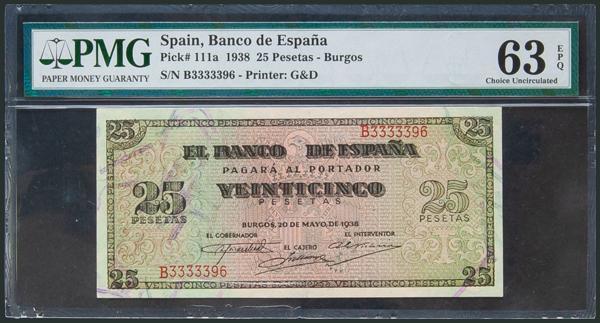 208 - 25 Pesetas. 20 de Mayo de 1938. Serie B. (Edifil 2017: 430a). Apresto original. SC. Encapsulado PMG63EPQ. - 200€