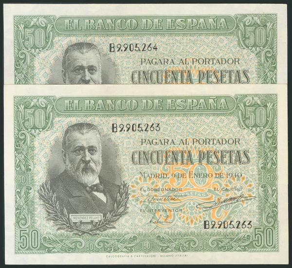 232 - 50 Pesetas. 9 de Enero de 1940. Pareja correlativa. Serie B. (Edifil 2017: 437a). Conserva la casi totalidad del apresto original. EBC+. - 250€