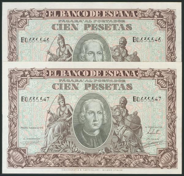 239 - 100 Pesetas. 9 de Enero de 1940. Pareja correlativa. Serie B. (Edifil 2017: 438a). Conserva todo el apresto original. Rara. SC-. - 300€