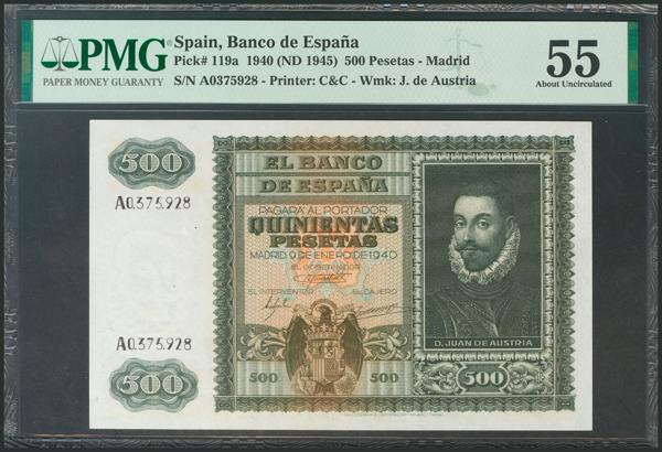 244 - 500 Pesetas. 9 de Enero de 1940. Serie A. (Edifil 2017: 439). Raro así. EBC+. Encapsulado PMG55. - 450€