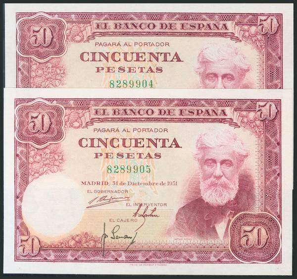 362 - 50 Pesetas. 31 de Diciembre de 1951. Pareja correlativa. Sin serie. (Edifil 2017: 462). SC. - 200€