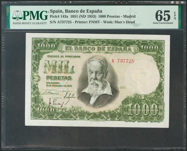 372 - 1000 Pesetas. 31 de Diciembre de 1951. Serie A. (Edifil 2017: 463a). Apresto original, raro así. SC+. Encapsulado PMG65EPQ. - 250€