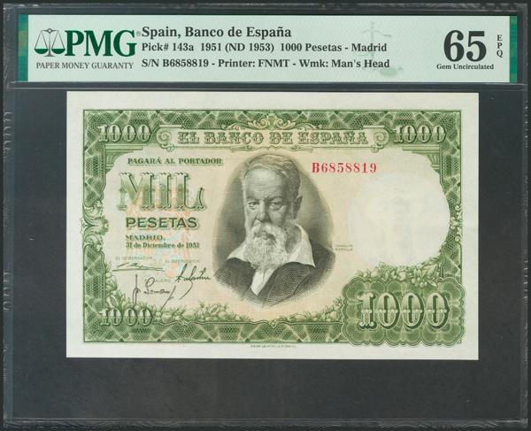 376 - 1000 Pesetas. 31 de Diciembre de 1951. Serie B. (Edifil 2017: 463a). Apresto original, raro así. SC+. Encapsulado PMG65EPQ. - 250€