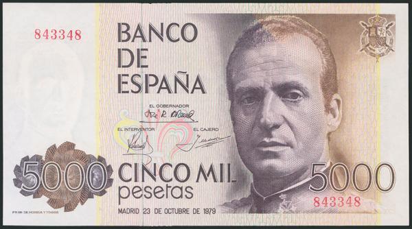 608 - 5000 Pesetas. 23 de Octubre de 1979. Sin serie y numeración capicúa. (Edifil 2017: 478). SC. - 100€
