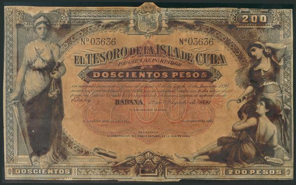 675 - CUBA. 200 Pesos. 12 de Agosto de 1891. (Edifil 2017: 68). Rarísimo, márgenes recortados. MBC-. - 400€
