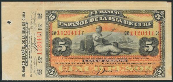 682 - CUBA. 5 Pesos. 15 de Febrero de 1897. Con matriz. Serie F. (Edifil 2017: 72). EBC. - 150€