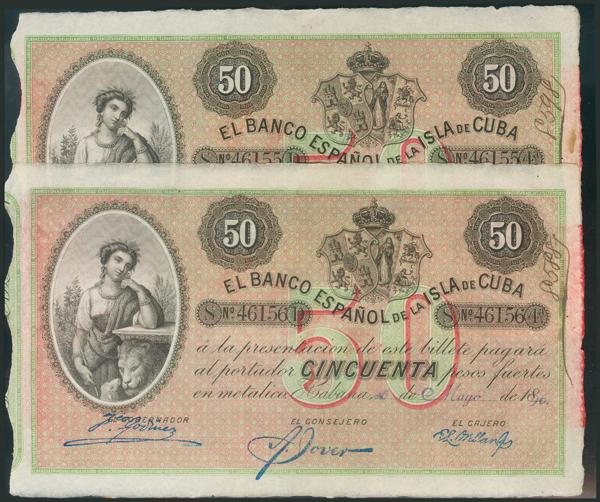 690 - CUBA. 50 Pesos. 15 de Mayo de 1896. Pareja correlativa. Sobrecarga PLATA. (Edifil 2017: 83). EBC+. - 375€