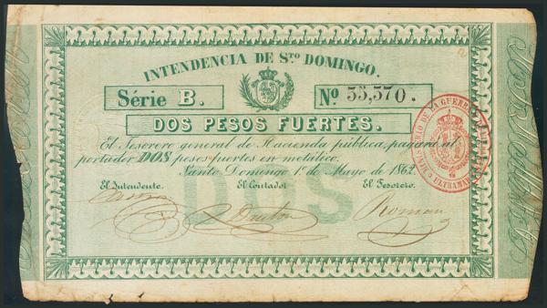 696 - SANTO DOMINGO. 2 Pesos. 1 de Mayo de 1862. Serie B. (Edifil 2017: 2). Para darnos idea de la rareza de los billetes dominicanos impresos bajo dominación española cabe destacar que la anexión de Santo Domingo a España duró sólo 4 años desde 1861 a 1865. EBC. - 2.000€