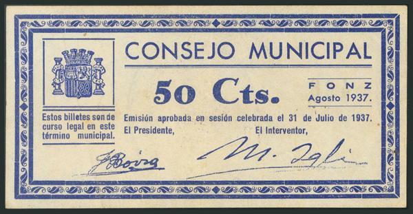 765 - FONZ (HUESCA). 50 Céntimos. Agosto de 1937. (González: 2477). EBC. - 20€