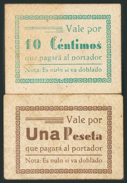 773 - SABIOTE (JAEN). 10 Céntimos y 1 Peseta. (1938ca). (González: 4617, 4620). Rarísimos, para hacernos idea de la rareza, el 10 Céntimos no está fotografiado en el catálogo de González. MBC+. - 200€