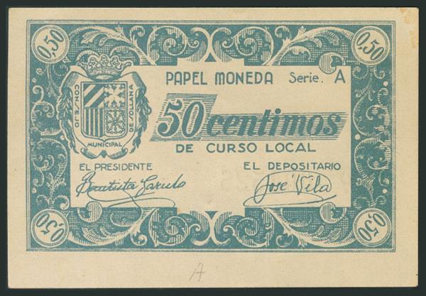 780 - SOLLANA (VALENCIA). 50 Céntimos. (1938ca). Serie A. (González: 4847). EBC+. - 20€