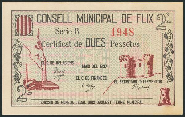 864 - FLIX (TARRAGONA). 2 Pesetas. Mayo 1937. Serie B. (González: 7884). Raro. SC. - 20€