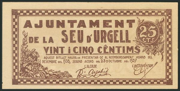 955 - SEU D´URGELL (LERIDA). 25 Céntimos. 23 de Octubre de 1937. (González: 10000). SC-. - 10€
