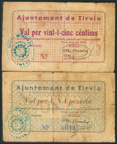 992 - TIRVIA (LERIDA). 25 Céntimos y 1 Peseta. Junio 1937. (González: 10264, 10266). Rarísimos. BC. - 120€