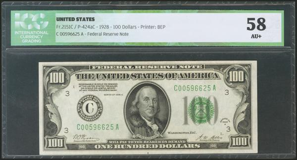 1168 - USA. 100 Dollars. Federal Reserve Note. Philadelphia. Serial number C-A. 1928A. (Friedberg: 2151C, Pick: 424aC). ICG58. - 120€