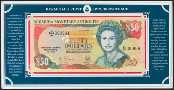 225 - BERMUDA. 50 Dollars. 12 October 1992. Commemorative note. (Pick: 40). Uncirculated. - 50€