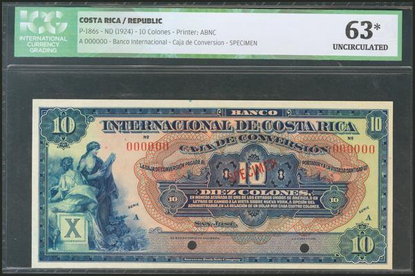375 - COSTA RICA. 10 Colones. 1924. Specimen 000000. (Pick: 186s). ICG63* (small tear at bottom right). - 70€