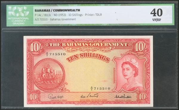 44 - BAHAMAS. 10 Shillings. 1953. (Pick: 14c). ICG40. - 55€
