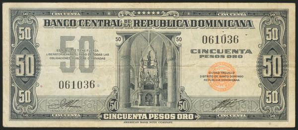 502 - DOMINICAN REPUBLIC. Ciudad Trujillo. 50 Pesos Oro. 1947-1951. (Pick: 64). Fine. - 20€