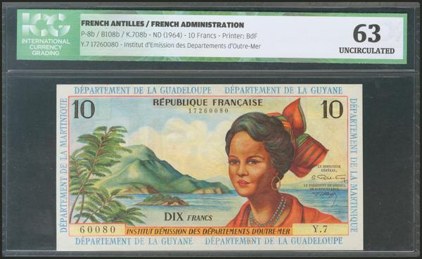 700 - FRENCH ANTILLES. 10 Francs. 1964. (Pick: 8b). ICG63. - 50€