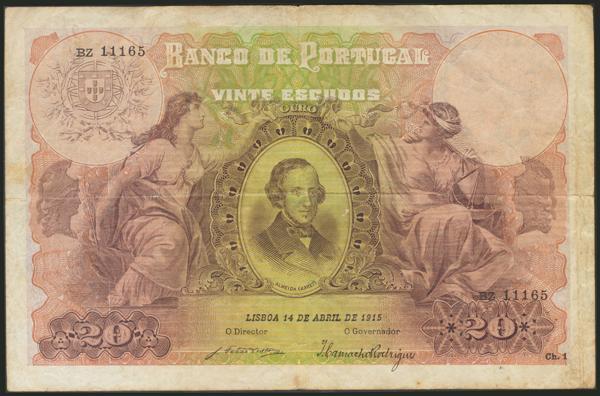 912 - PORTUGAL. 20 Escudos. 14 de Abril de 1915. Serie BZ. (Pick: 115). Muy raro sin reparaciones. Very fine. - 450€