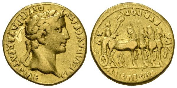 2100 - OCTAVIO. Aureo. (Au. 7,43g/18mm). 27 a.C.-14 d.C. Lugdunum. (RIC 223). MBC. Rarísimo ejemplar. Rayas en anverso.<BR><BR>Sobre Cayo Octavio Turino recae el privilegio de ser el primer Emperador Romano. Conocido en sus primeros años como Octavio, y a partir del 27 a.C. como César Augusto, bajo su mandato se inició la llamada Pax Augusta, un periodo de más de doscientos años de relativa estabilidad que permitió al Imperio alcanzar un desarrollo económico y una expansión territorial sin precedentes. La moneda en esta época obedece a un modelo oficialista y realista con un busto (sólo cabeza y cuello) siempre de perfil, por la facilidad técnica a la hora de su realización. Presenta, además, una escasa o nula evolución en cuanto al reflejo del paso del tiempo en lo que al rostro se refiere, lo que nos da una clara idea del intento de representar de manera idealizada la imagen del emperador. La escena representada en el reverso, Tiberio en su carro triunfal, fue ampliamente representada en monedas y en todo tipo de artes, ayudando a consolidar la imagen como heredero de César Augusto. - 3.000€