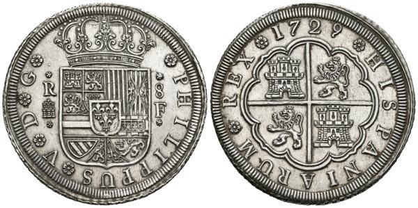 2408 - FELIPE V (1700-1746). 8 Reales. (Ar. 26,90g/43mm). 1729. Segovia F. (Cal-2019-1598). EBC. Rarísimo y muy bonito ejemplar.<BR><BR>Con dos tipos de flanes, pequeño y grande, y sólo tres fechas, 1727, 1728 y 1729, Felipe V ordenó acuñar estos magníficos 8 Reales en la icónica ceca segoviana justo un año antes de que se centralizaran las acuñaciones peninsulares de plata y oro en Madrid y Sevilla y quedara, el Ingenio de Segovia, reservado exclusivamente para acuñar toda la moneda de cobre del reino. Esta serie, llamada de Plata Nacional,  estaba destinaba exclusivamente para el comercio con el exterior. Se sigue el diseño usual para la moneda de plata, con ligeros cambios como el añadido del escusón Borbón en el escudo de armas. - 1.750€