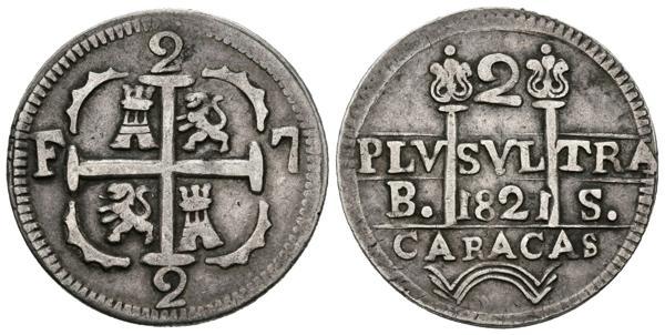 2542 - FERNANDO VII (1808-1833). 2 Reales (Ar. 5,12g/24mm). 1821. Caracas. (Cal-2019-739 var). Ambos 1 de la fecha invertidos. MBC+. Muy rara. - 650€