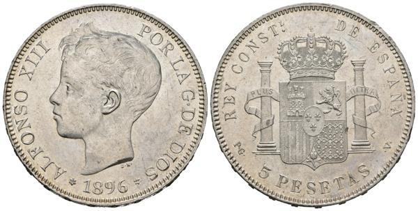 2636 - ALFONSO XIII (1885-1931). 5 Pesetas. (Ar. 25,05 /37mm). 1896 *18-96.  Madrid PGV. (Cal-2019-106). SC-. Brillo original. - 120€