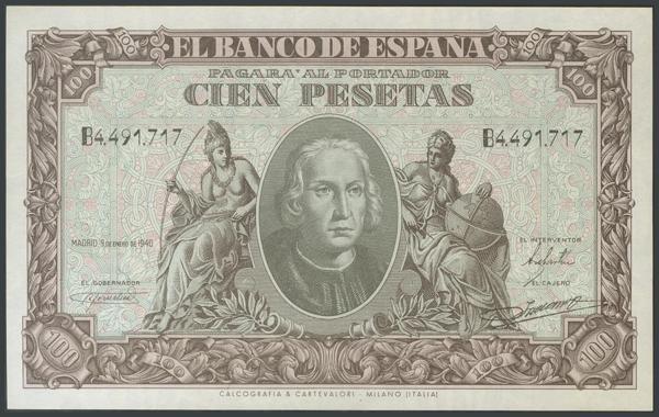 147 - 100 Pesetas. 9 de Enero de 1940. Serie B. (González: 438a). SC. - 120€