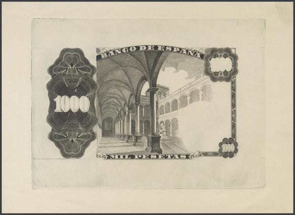 174 - 1000 Pesetas. 19 de Febrero de 1946. Prueba definitiva de estado de la plancha del reverso en color negro, sobre papel cartulina. (Edifil 2017: 453P). SC. Excepcional. - 1.000€