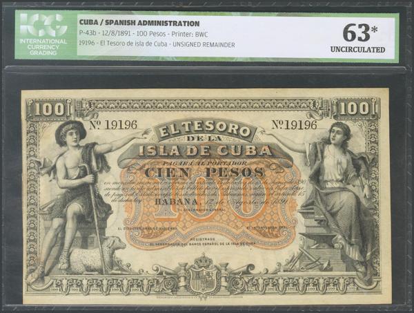 431 - CUBA. 100 Pesos. 12 de Agosto de 1891. (Edifil 2017: 67, Echenagusía: 39). Muy raro en esta excecpional calidad. Encapsulado ICG63 (mínima rotura de papel, sin importancia). SC. - 450€