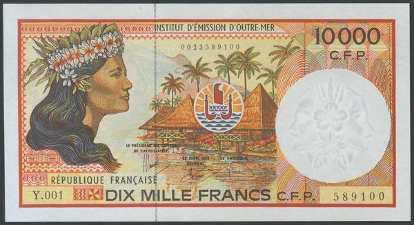 912 - FRENCH PACIFIC TERRITORIES. 10000 Francs. 1985. Serie Y. (Pick: 4f). Uncirculated.<BR> - 75€