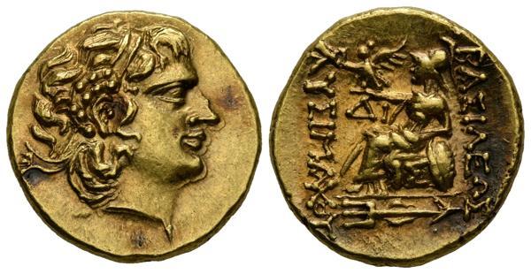 1046 - REYES DE PONTOS, Mithradates VI  Eupator. Estátera. (Au. 8,29g/19mm). 88-86 a.C. Istros. Anv: Cabeza diademada de Alejandro III el Grande a derecha con cuerno de Ammon. Rev: Atenena Nikephoro sentada a izquierda portando Victoria y apoyando el codo izquierdo sobre escudo, delante AI, debajo del trono IM, debajo tridente ornamentado, alrededor leyenda griega. (SNG Copenhagen 1094). EBC+. Precioso ejemplar, escaso en esta calidad. - 1.700€