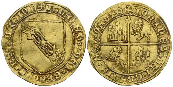 1627 - JUAN II (1406-1454). Dobla de la banda. (Au. 4,59g/33mm). Sevilla. Anv: Escudo de la banda con leones en los extremos, todo dentro de gráfila circular, alrededor leyenda: IOHANES DEI GRACIA REX LEGION. Rev: Cuartelado de castillos y leones coronados y rampantes a izquierda, todo dentro de gráfila circular, marca de ceca en el extremo superior, alrededor leyenda: IOHANES DEI GRACIA REX CASTE. (FAB-617.2 var). Variante de leyenda. EBC-. - 1.000€