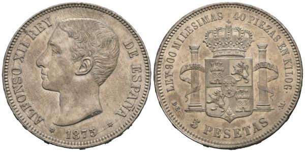 1884 - ALFONSO XII (1874-1885). 5 Pesetas. (Ar. 25,09g/37mm). 1875 *18-75. Madrid DEM. (Cal-2019-35). SC-. Restos de brillo original. Bonito ejemplar. - 300€