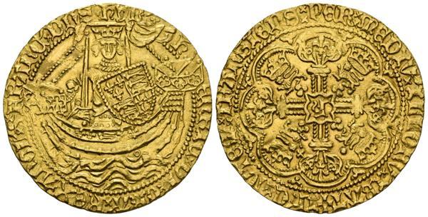 2274 - FRANCIA, Enrique V (1413-1422). Noble de Oro. (Au. 6,94g/32mm). Londres. Anv: H ENRIC DI GRA REX ANGL Z FRANC DNS HYB. Enrique III estante de frente en barco portando espada y escudo. Rev: IHC AVTEM TRANSIENS PER MEDIV ILLORV IBAT. H en el centro de un cruz ornamentada terminada en lis, en los ángulos coronas y leones, todo en orla de ocho lóbulos, en 4 cuadrante punto detrás de león y primer cuadrante cruz a la derecha de flor de lis. (Seaby 1742 var). EBC. Bonito y raro ejemplar. - 3.500€
