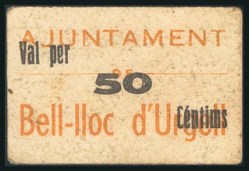 192 - BELL-LLOC D´URGELL (LERIDA). 50 Céntimos. (1937ca). (González: 6975). Muy raro. MBC. - 65€
