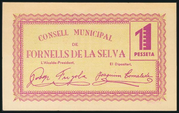 261 - FORNELLS DE LA SELVA (GERONA). 1 Peseta. Junio 1937. Serie A. (González: 7925). Rarísimo. SC. - 120€