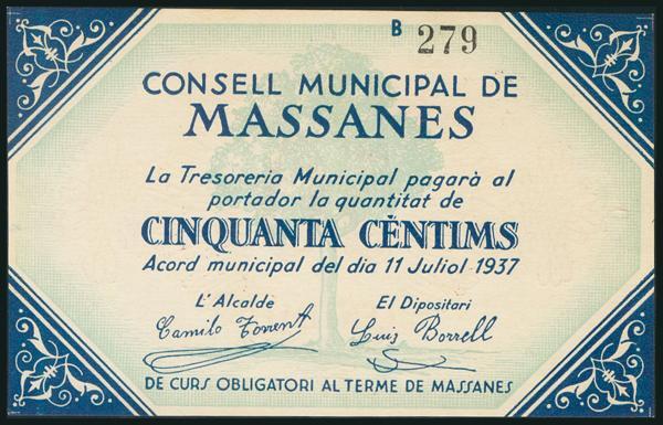 297 - MASSANES (GERONA). 50 Céntimos. 11 de Julio de 1937. Serie B. (González: 8652). Muy raro, billete de enorme espectacularidad. SC. - 120€