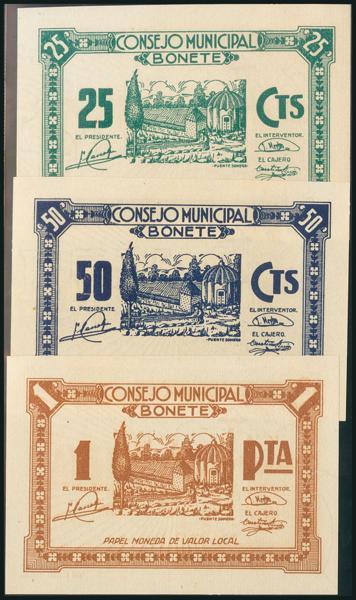 38 - BONETE (ALBACETE). 25 Céntimos, 50 Céntimos y 1 Peseta. (1938ca). Sin numeración. (González: 1277/79). Rara serie completa. SC. - 100€