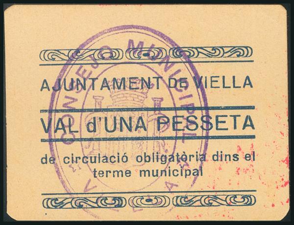 454 - VIELLA (LERIDA). 1 Peseta. (1938ca). Serie C. (González: 10657). Muy raro, especialmente en esta calidad. SC. - 75€