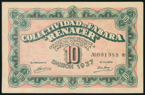 65 - FABARA (ZARAGOZA). 10 Pesetas. 1937. (González: 2392). Rarísimo. EBC. - 90€